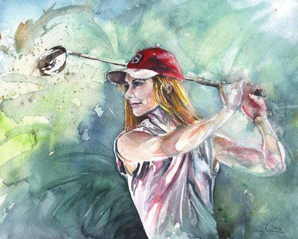 Painting - Miki Self Portrait Golfing by Miki De Goodaboom