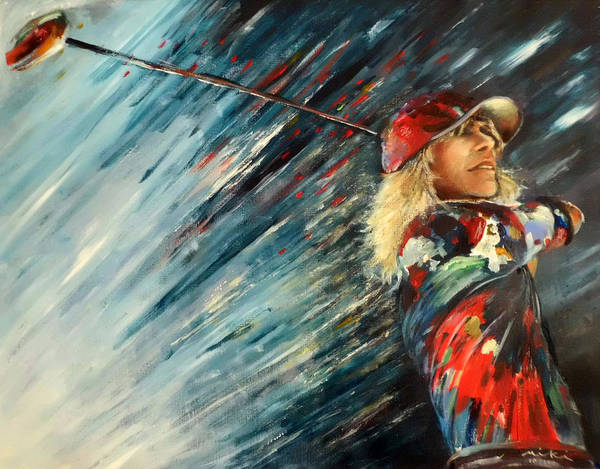 Painting - Miki Self Portrait With Driver by Miki De Goodaboom