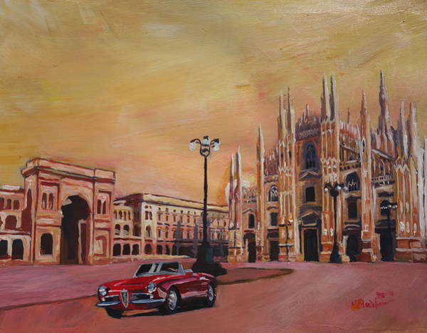 Alfa Romeo Painting - Milan Cathedral With Oldtimer Convertible Alfa Romeo by M Bleichner