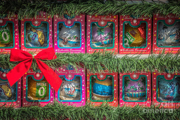 Mile Marker 0 Christmas Decorations Key West 4 - Hdr Style Art Print