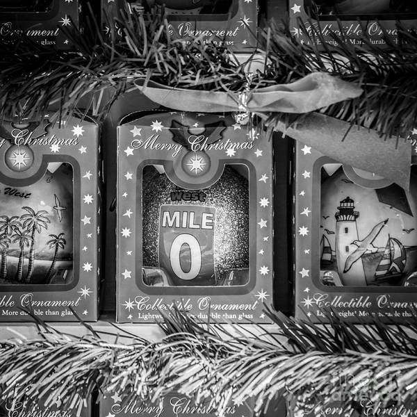 Square Mile Wall Art - Photograph - Mile Marker 0 Christmas Decorations Key West - Square - Black And White by Ian Monk
