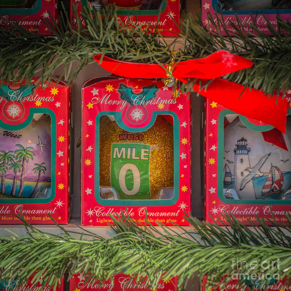 Square Mile Wall Art - Photograph - Mile Marker 0 Christmas Decorations Key West - Square - Hdr Style by Ian Monk