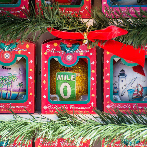 Square Mile Wall Art - Photograph - Mile Marker 0 Christmas Decorations Key West - Square by Ian Monk