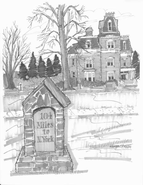 Drawing - Mile Marker And Victorian by Richard Wambach
