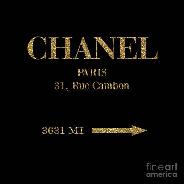 Wall Art - Digital Art - Mileage Distance Chanel Paris Black Gold by Edit Voros