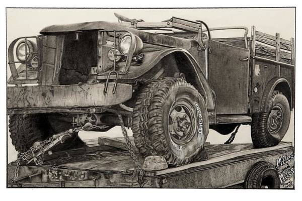 Old Chevy Truck Drawing - Miles And Miles by Mike Sangh