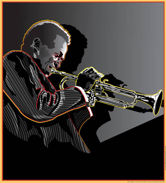 Wall Art - Digital Art - Miles Davis Legendary Jazz Musician by Larry Butterworth