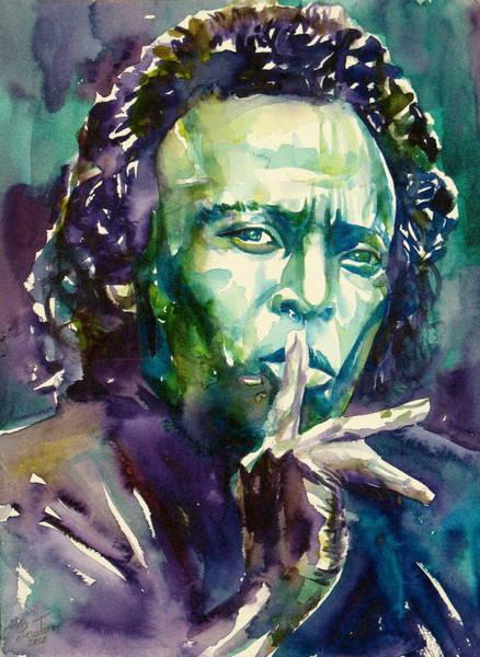 Miles Davis Painting - Miles Davis Watercolor Portrait.2 by Fabrizio Cassetta