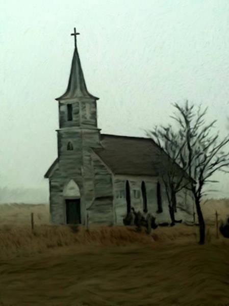 Painting - Milford Nebraska Church by Dennis Buckman