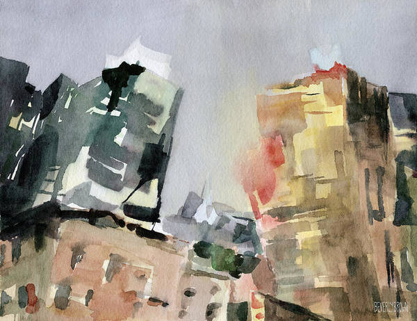 Semi Abstract Painting - Milford Plaza 8th Avenue Watercolor Painting Of New York by Beverly Brown