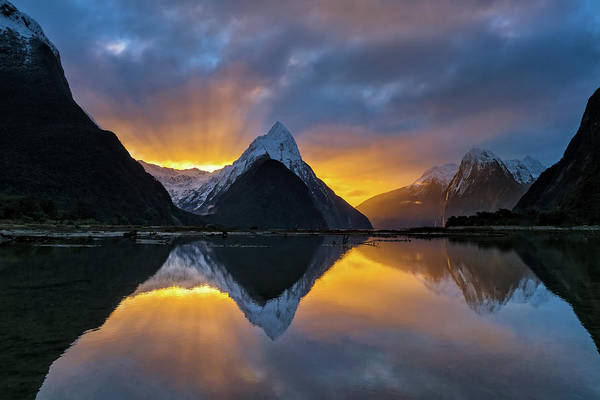 Milford Photograph - Milford Sound Sunset by Hua Zhu
