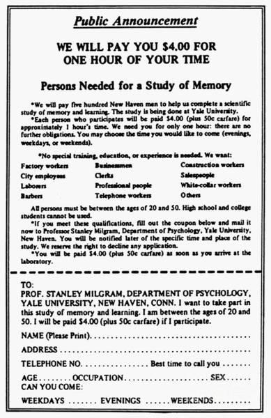 Wall Art - Photograph - Milgram Experiment by Granger