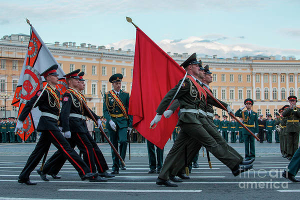 Marching Photograph - Military Parade On Palace Square by Holger Leue