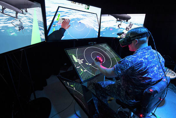 Oculus Wall Art - Photograph - Military Virtual Reality Training by John F. Williams, Us Navy/science Photo Library