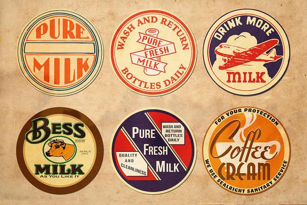 Label Digital Art - Milk Bottle Tops by Greg Joens