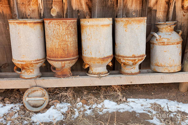 Photograph - Milk Cans At Littleton Historic Museum by Fred Stearns