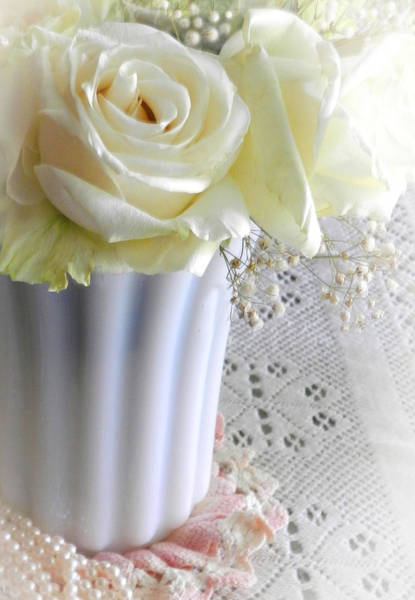 Photograph - Milk Glass And Roses by Grace Dillon