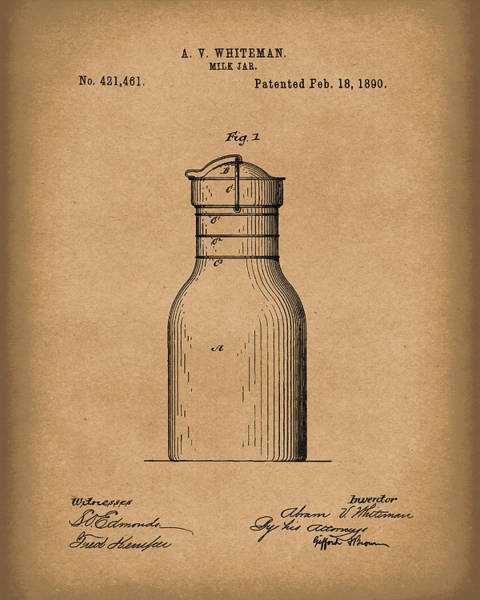 Drawing - Milk Jar 1890 Patent Art Brown by Prior Art Design