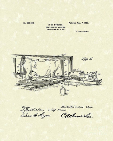 Drawing - Milking Machine 1900 Patent Art by Prior Art Design