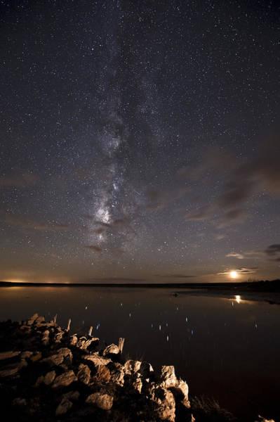 Photograph - Milky Way And Moon Reflecting by Melany Sarafis