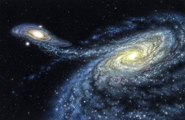 Interacting Galaxies Wall Art - Photograph - Milky Way Galactic Collision by Lynette Cook/science Photo Library