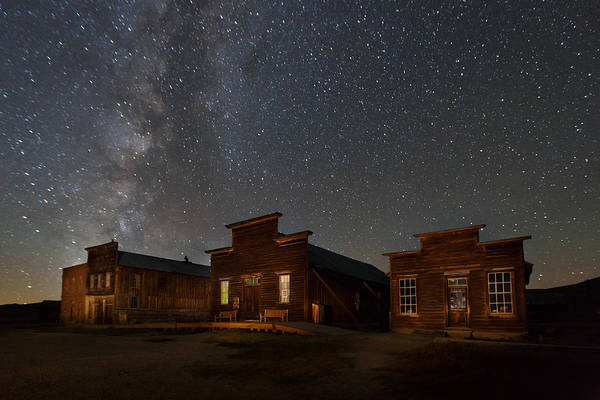 Bodie Ghost Town Wall Art - Photograph - Milky Way Over Downtown Bodie by Jeff Sullivan