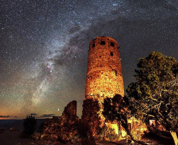 Desert View Tower Photograph - Milky Way Over Grand Canyon Watchtower by Babak Tafreshi