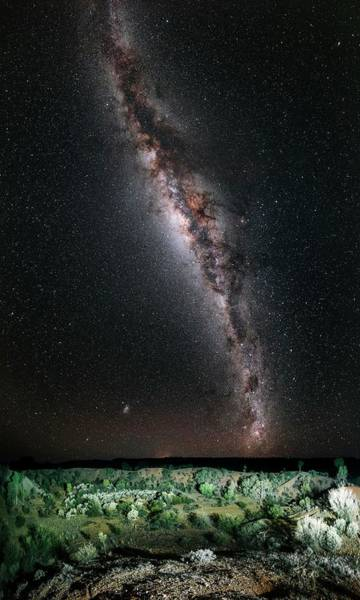 Meteor Crater Photograph - Milky Way Over Henbury Meteorite Craters by Babak Tafreshi/science Photo Library