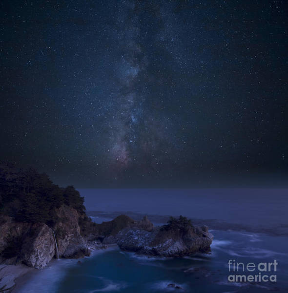 Big Sur Photograph - Milky Way Over Mcway Falls by Keith Kapple