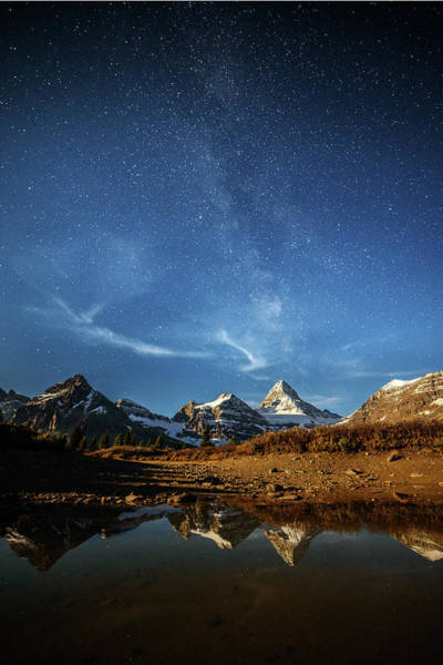 Canmore Photograph - Milky Way Over Mountain Peak by Piriya Photography