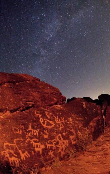 Wall Art - Photograph - Milky Way Over Prehistoric Rock Art by Babak Tafreshi/science Photo Library