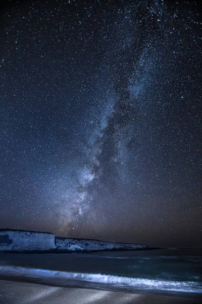 Montana De Oro State Park Photograph - Milky Way Over The Ocean, Breaking by Alice Cahill