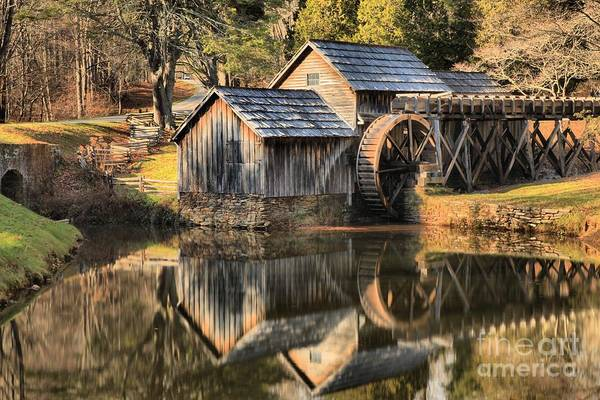Photograph - Mill Pond Reflections At Mabry Mill by Adam Jewell