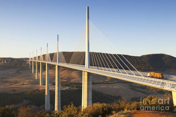 Wall Art - Photograph - Millau Viaduct At Sunrise Midi Pyrenees France by Colin and Linda McKie
