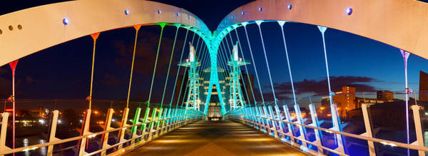 Greater Manchester Wall Art - Photograph - Millennium Bridge At Night, Salford by Panoramic Images