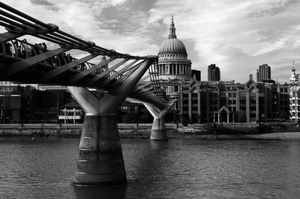 Bankside Photograph - Millennium Bridge In Black And White by Andy Fung