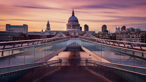 Domes Wall Art - Photograph - Millennium Bridge Leading Towards St. Paul's Church by Roland Shainidze