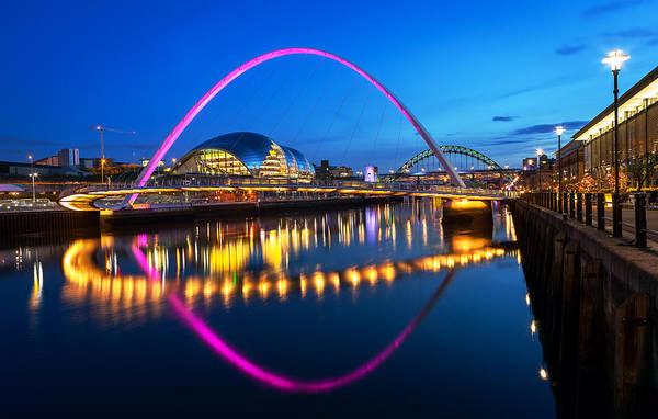 Bluehour Photograph - Millennium Bridge Newcatle by Shahid Khan