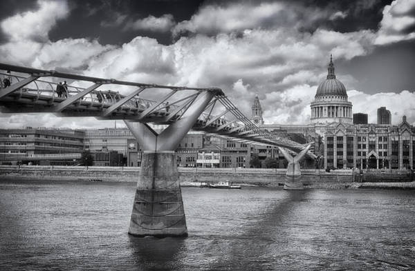Photograph - Millennium Bridge - St Pauls Cathedral by Kim Andelkovic