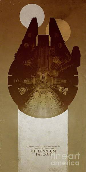 Star Wall Art - Digital Art - Millennium Falcon by Baltzgar