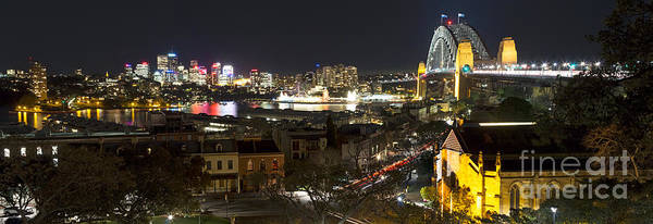 Photograph - Millers Point By Night - Panorama by Nicholas Blackwell