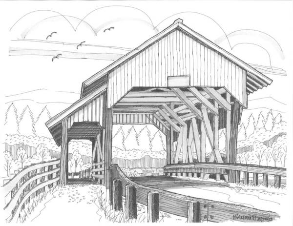 Drawing - Miller's Run Covered Bridge by Richard Wambach