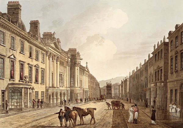 Architecture Drawing - Milsom Street, From Bath Illustrated by John Claude Nattes