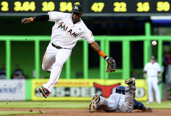 Miami Marlins Photograph - Milwaukee Brewers V Miami Marlins by Alex Trautwig