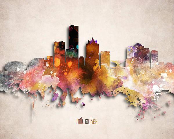 Wall Art - Digital Art - Milwaukee Painted City Skyline by World Art Prints And Designs