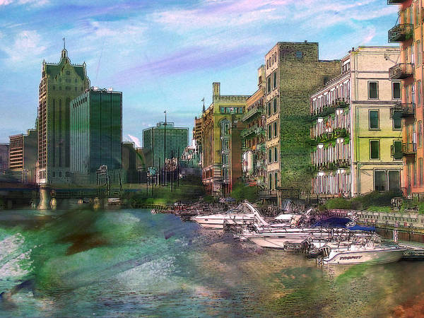 Digital Art - Milwaukee River And Abstract Watercolor by Anita Burgermeister