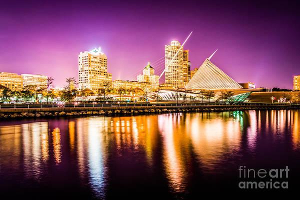 Milwaukee Art Museum Photograph - Milwaukee Skyline At Night Picture In Purple by Paul Velgos
