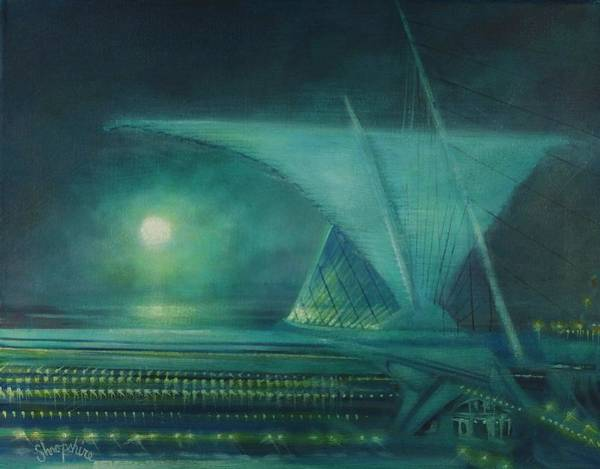 Wall Art - Painting - Milwaukee's Calatrava By Moonlight by Tom Shropshire