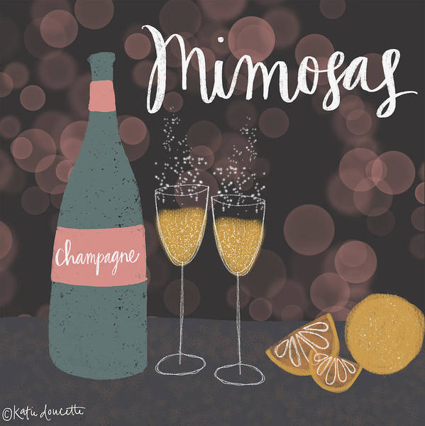 Champagne Painting - Mimosas by Katie Doucette
