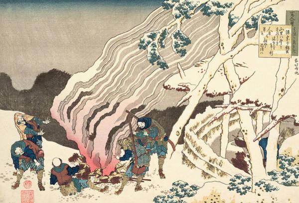 Woodblock Painting - Minamoto No Muneyuki Ason by Hokusai